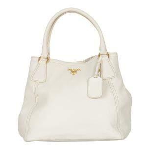 Prada White Leather Vitello Daino Satchel Bag