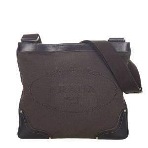 Prada Brown Canvas Canapa Logo Crossbody Bag
