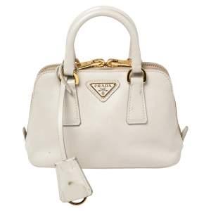 حقيبة كروس برادا ميني بروميناد جلد سافيانو  أبيض