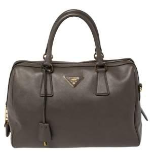 Prada Taupe Saffiano Lux Leather Zip Satchel
