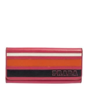 Prada Multicolor Saffiano Lux Leather Flap Continental Wallet