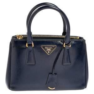 Prada Navy Blue Saffiano Vernice Leather Mini Galleria Double Zip Tote