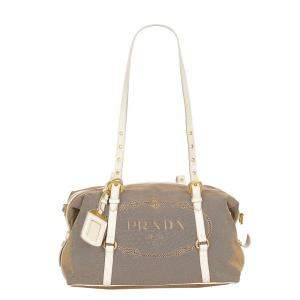 Prada Brown/White Canvas Canapa Logo Crossbody Bag