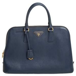 Prada Blue Saffiano Leather Promenade Satchel
