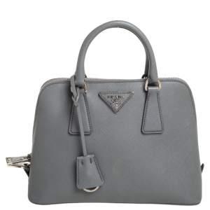 Prada Grey Saffiano Leather Small Promenade Satchel