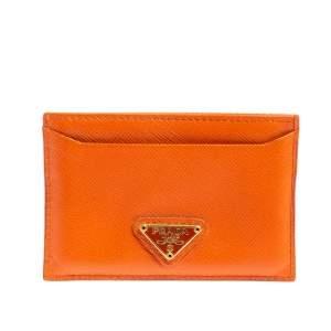 حامل بطاقات برادا جلد سافيانو لوكس برتقالي