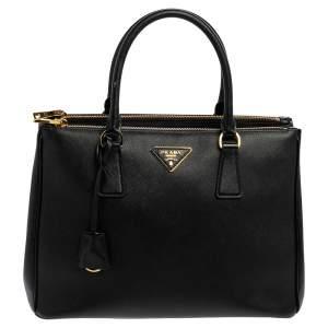 Prada Black Saffiano Lux Leather Medium Galleria Tote