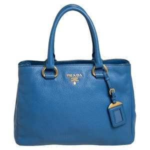 Prada Blue Leather Daino Leather Tote