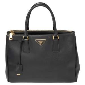 حقيبة يد توتس برادا غاليريا متوسطة جلد سافيانو لوكس أسود