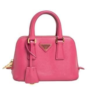 Prada Pink Saffiano Lux Leather Mini Promenade Satchel