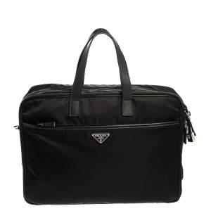 Prada Black Nylon and Leather Briefcase