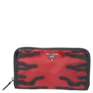 Prada Red/Black Patent Leather Zip Around Wallet