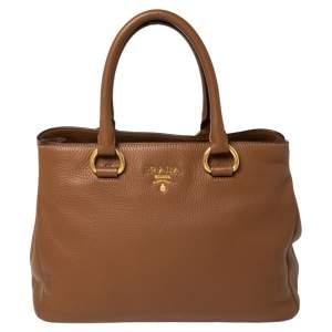 حقيبة يد توتس برادا شوبر جلد داينو فيتيلو بنية