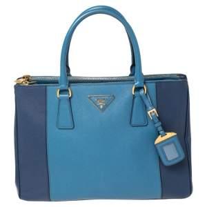 """حقيبة يد توتس برادا """"غاليريا"""" متوسطة جلد سافيانو لوكس أزرق ثنائى اللون"""