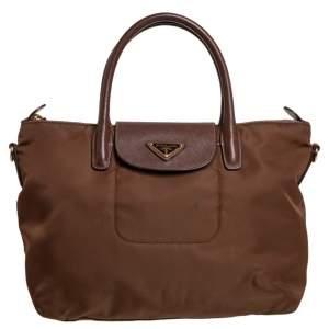 Prada Brown Tessuto Nylon and Saffiano Leather Zip Tote