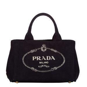 Prada Black Canvas Canapa Logo Tote Bag