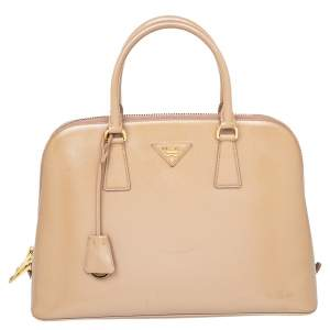 Prada Beige Saffiano Lux Patent Leather Large Promenade Satchel