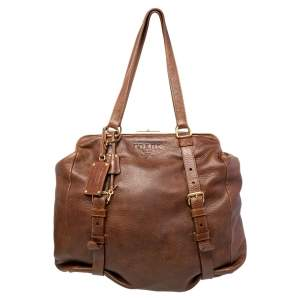 Prada Brown Leather Frame Satchel
