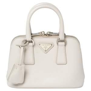 Prada Off White Saffiano Leather Mini Promenade Crossbody Bag