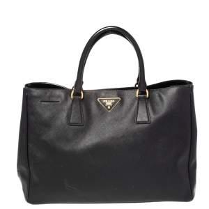 حقيبة يد توتس برادا غاردينيرز جلد سافيانو لوكس أسود كبيرة