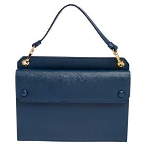 Prada Blue Saffiano Lux Leather Mini Crossbody Bag