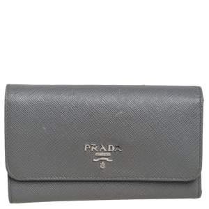 Prada Grey Saffiano Lux Leather Trifold Wallet