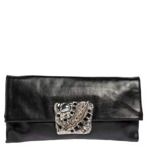 Prada Black Vitello Mordo Leather Flap Clutch