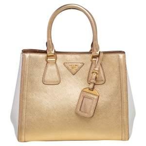 Prada Gold/White Saffiano Lux Leather Small Galleria Tote