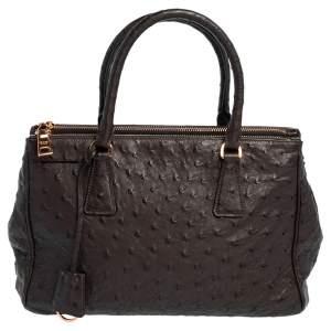"حقيبة يد توتس برادا ""غاليريا"" صغيرة  جلد نعام بني داكن"