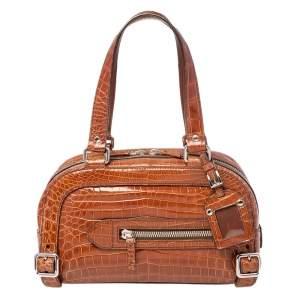 Prada Brown Crocodile Bauletto Bag