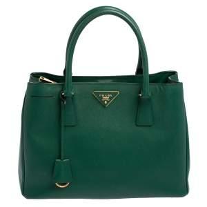 Prada Green Saffiano Lux Leather Medium Galleria Tote