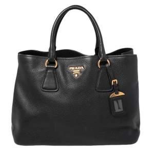حقيبة يد توتس برادا جلد ديانو فيتيلو أسود