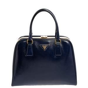 Prada Navy Blue Saffiano Vernice Leather Pyramid Frame Satchel