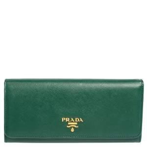 Prada Green Saffiano Leather Flap Continental Wallet