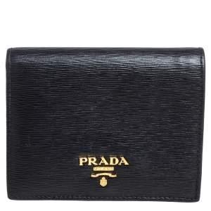 Prada Black Vitello Move Leather Logo Bifold Compact Wallet