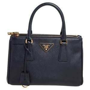 Prada Black Saffiano Lux Leather Mini Galleria Tote