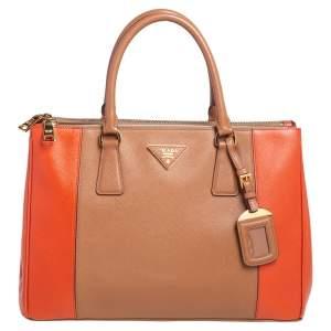 Prada Orange/Beige Saffiano Lux Leather Medium Galleria Tote
