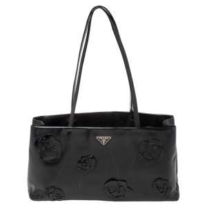 Prada Black Leather Floral Appliqué Tote