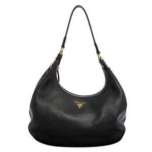 حقيبة هوبو برادا جلد فيتيلو داينو أسود سحاب علوي