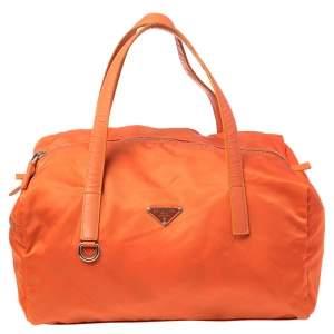 Prada Orange Nylon Boston Bag