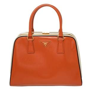 Prada Orange/Cream Saffiano Vernice Leather Pyramid Frame Satchel