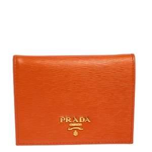 Prada Orange Vitello Move Leather Bifold Wallet