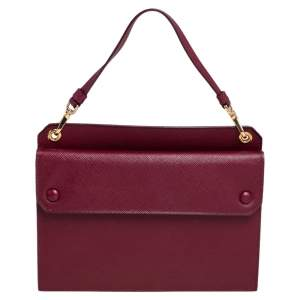 Prada Dark Red Saffiano Lux Leather Mini Crossbody Bag