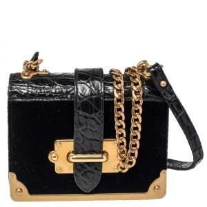 Prada Black Velvet and Croc Embossed Leather Micro Cahier Crossbody Bag