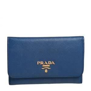 Prada Blue Saffiano Leather Flap Card Holder