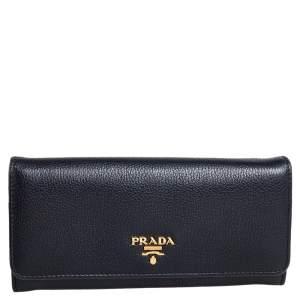 محفظة برادا كونتينينتال جلد فيتيلو فينيكس أسود ذات قلاب