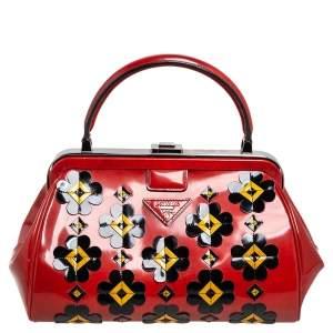 Prada Burnt Orange Patent Leather Floral Applique Frame Doctor Top Handle Bag