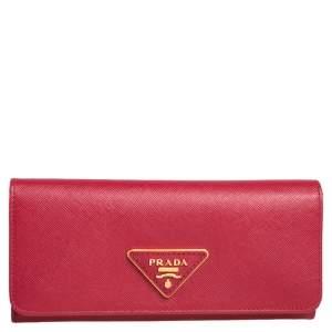 محفظة برادا كونتينينتال جلد سافيانو لوكس أحمر ذات قلاب