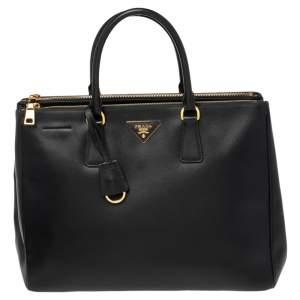 حقيبة يد توتس برادا غاليريا جلد سافيانو لوكس أسود كبيرة
