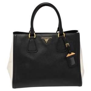 Prada Black/White Saffiano Lux Leather Parabole Tote Bag